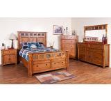 Rustic Oak & Slate 9-Drawer Dresser w/Cabinet