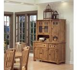 Rustic Oak & Slate Buffet Cabinet Only