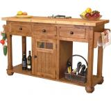 Rustic Oak & Slate Island Table