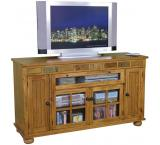 Rustic Oak & Slate Counter Height TV Console