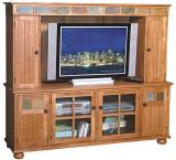 Rustic Oak & Slate Complete Entertainment Center