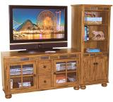 Rustic Oak & Slate TV Console