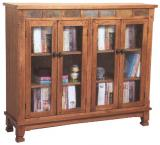 Rustic Oak & Slate Bookcase Console with Doors