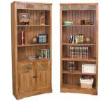 Rustic Oak & Slate Bookcase with Doors