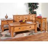 Rustic Oak & Slate Side Table