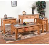 Rustic Oak & Slate Side Table with Slate