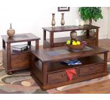 Rustic Santa Fe Inlaid Coffee Table with Drawers Living Room Furniture