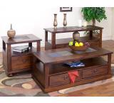 Rustic Santa Fe Inlaid End Storage Table