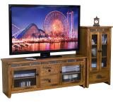Rustic Oak 42 TV Console with Slate