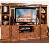 Rustic Oak & Slate Complete Entertainment Wall