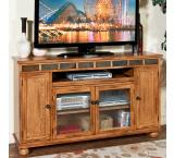 Rustic Oak & Slate Tall 62 TV Console