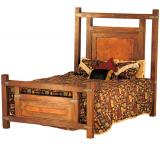 Mexican Copper Inlaid Wyoming Bed with Copper Panels
