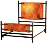 Mexican Copper Inlaid Florida Bed with Copper Panels