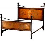 Mexican Copper Inlaid Iron Bed with Copper Panels