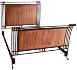 Mexican Copper Inlaid Carol Sleigh Bed