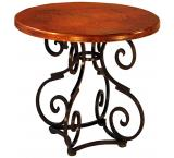 Mexican Copper Inlaid Small Round Aztec Dining Table