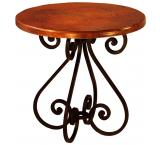 Mexican Copper Inlaid Small Round Sigma Dining Table