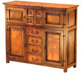 Mexican Copper Inlaid Francisco 4-Door Credenza