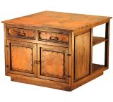 Mexican Copper Inlaid 2-Door Kitchen Island with Copper