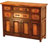 Mexican Copper Inlaid Francisco 4-Door Buffet