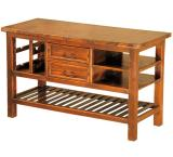 Mexican Copper Inlaid Kitchen Island with Iron Shelf