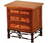 Mexican Copper Inlaid 3-Drawer Nightstand