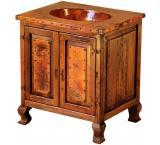 Mexican Copper Inlaid 2-Door Sink Cabinet