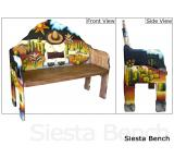 Mexican Rustic Siesta Double Carved Bench