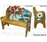 Mexican Rustic Macaws Double Carved Bench