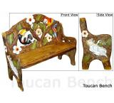 Mexican Rustic Toucan Double Carved Bench