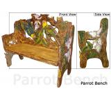 Mexican Rustic Parrots Double Carved Bench