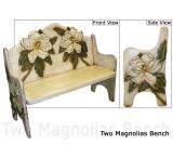 Mexican Rustic Two Magnolias Double Carved Bench