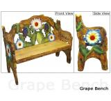 Mexican Rustic Grape Double Carved Bench