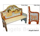 Mexican Rustic Angels Double Carved Bench
