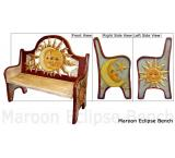 Mexican Rustic Maroon Eclipse Double Carved Bench