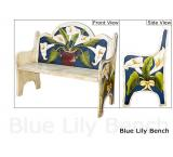 Mexican Rustic Blue Lily Double Carved Bench