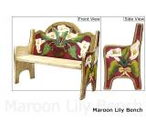 Mexican Rustic Maroon Lily Double Carved Bench
