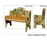 Mexican Rustic Flower Basket Double Carved Bench
