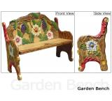 Mexican Rustic Garden Double Carved Bench