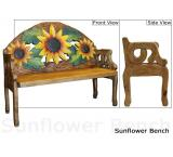 Mexican Rustic Sunflower Double Carved Bench