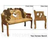 Mexican Rustic Two Horse Double Carved Bench