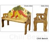Mexican Rustic Chili Pepper Double Carved Bench