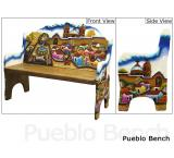 Mexican Rustic Pueblo Double Carved Bench