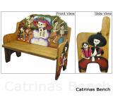 Mexican Rustic Day of the Dead Double Carved Bench