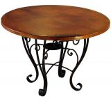 Mexican Copper Inlaid 42 Round Placencia Dining Table