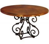 Mexican Copper Inlaid 42 Round Aztec Dining Table