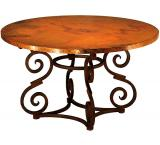 Mexican Copper Inlaid 42 Round Heavy Aztec Dining Table
