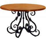 Mexican Copper Inlaid 42 Round Quebrada Dining Table