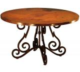 Mexican Copper Inlaid 42 Round Heavy Quebrada Dining Table