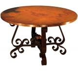 Mexican Copper Inlaid 42 Round Heavy Patricia Dining Table